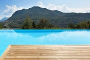 swimming pool and wooden deck