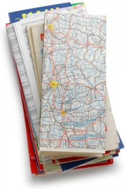 stack of road maps