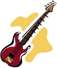 four-stringed bass guitar clip art