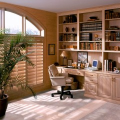 built-in bookcases in a home office