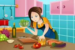beautiful woman cooking healthy food