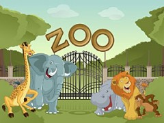 zoo entrance with animals