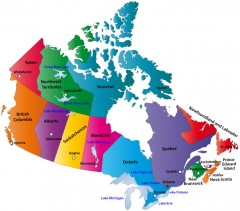 canada map, showing capital cities and provinces