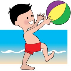 boy playing with beach ball