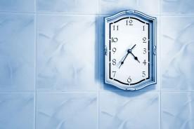 light-blue wall clock