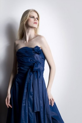 woman wearing a blue dress